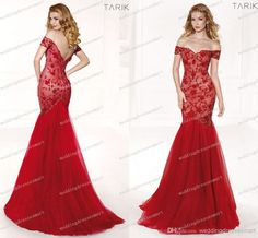 2014 Red Mermaid Pageant Dresses Elegant Beading Sequins Tulle Off-shoulder Delicate Custom Made Tarik Ediz Women Formal Evening Gowns New Online with $187.98/Piece on Weddingdressesmart's Store | DHgate.com