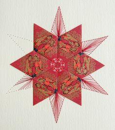 Theezakjes vouwen (Chinese Blossom thee) en borduren op papier, moet nog afgemaakt worden. Tea bag folding and embroidery on paper