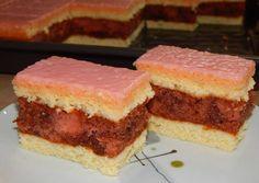 Puncs szelet Croatian Recipes, Hungarian Recipes, My Recipes, Cake Recipes, Cooking Recipes, Hungarian Cuisine, Food Cakes, Cake Cookies, Macarons