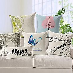 Thick Bird Butterfly Printed Cushion Cover Forest Tree Decorative Pillow Covers Housse De Coussin Capa De Almofada Home Decor Cheap Throw Pillows, Linen Pillows, Sofa Cushion Covers, Cushions On Sofa, Cushion Pillow, Ikea Pillow, Couch Sofa, Textiles, Printed Cushions