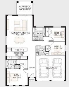 Plano de casa de un piso y tres dormitorios 001