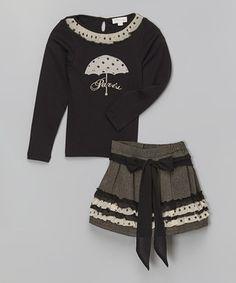 Loving this Trish Scully Child Black & White Polka Dot Top & Gray Skirt - Toddler & Girls on #zulily! #zulilyfinds