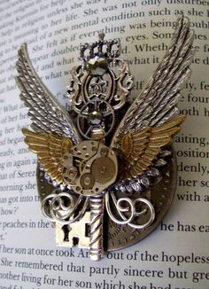 Steampunk Pin PinM47  Brooch / Medal  Double by DesignsByFriston, $38.00