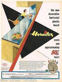 HORNITEX LAMINATE BOARD AD RETRO AUSTRALIAN Vintage Advertising 1955 Original