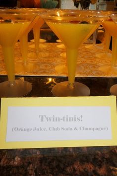 Twin-tinis at a Twins Baby Shower - Orange Juice, Club Soda & Champagne. Myers Graves, We Heart Parties Baby Party, Baby Shower Parties, Baby Shower Themes, Baby Boy Shower, Baby Shower Gifts, Shower Ideas, Baby Showers, Shower Party, Storybook Party