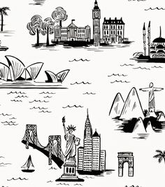 City Toile White wallpaper (Rifle Paper Co.)