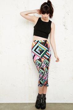 9617a6206a39fe House of Holland Geometric Print Tube Skirt
