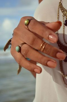 rings + neutral nails.