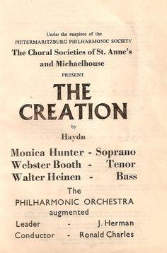 The Creation (Haydn) at Michaelhouse (1964)