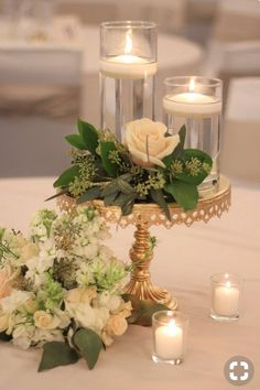 Green and Gold Wedding Decor - Floating tealight candles, greenery with florals,. - Green and Gold Wedding Decor – Floating tealight candles, greenery with florals, and antique gold - Simple Centerpieces, Wedding Table Centerpieces, Centerpiece Ideas, Floating Candle Centerpieces, Wedding Reception Table Decorations, Centerpiece Flowers, Vintage Centerpieces, Quinceanera Centerpieces, Black And Gold Centerpieces