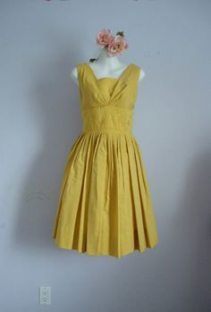 Vintage 1950s Gold Cotton Dress with Jacket
