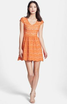 """SWAPPED! kensie Floral Lace Dress in Large. I wore this one, to a wedding - I'm a small/medium, but I found it on sale in a large and made it work with a belt - the orange is much brighter in person. Hits at knee length for me (I'm 5' 4"""") This dress is SO beautiful, I just want to pass it on!"""