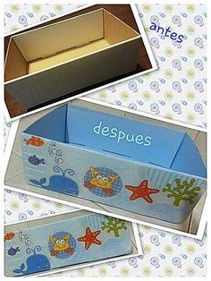 caja reciclada de cartón ..  decorada con decoupage !!