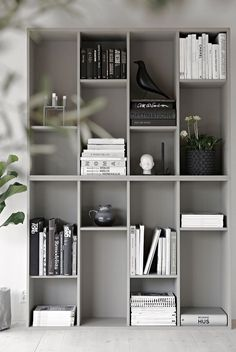 7 Marvelous Cool Ideas: Minimalist Home Inspiration Mirror white minimalist bedroom grey.Minimalist Home Inspiration Mirror minimalist bedroom apartment pillows.Minimalist Home Garden Interiors. Decor, Home Diy, Ikea Bookcase, Ikea Storage, Shelving, Home Decor, Stylish Space, Ikea, Home Deco
