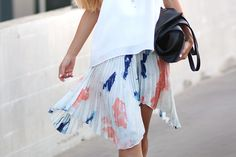 Sirma Markova: Pleats and Splashes / Blouse Choies http://www.choies.com/product/white-camis-blouse-with-real-leather-tape?cid=370bella ,  Skirt Choies http://www.choies.com/product/dip-dye-skirt-with-elastic-waist?cid=370bella