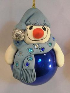Polmer Clay and Glass Christmas Ornaments