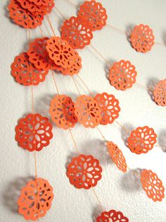 Housewares Home Decor Ornament delicate snowflake doilie doily bright ee team eeteam party shower gift citrus tangerine hot modern unique lace holiday thanksgiving orange and black fall harvest summer spring garland orange garland summer garland Fall Garland, Bunting Garland, Garlands, Orange Party, Orange Wedding, Fall Harvest, Autumn, Rice Paper, Craft Party