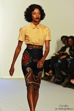 Love this high-waisted African print skirt and understated top.
