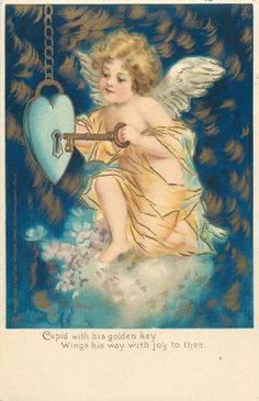 Shop Cupid Valentine Holiday Card created by Lovepotions. Victorian Valentines, Vintage Valentine Cards, Vintage Cards, Vintage Postcards, Vintage Images, French Images, Etiquette Vintage, Old Cards, Angel Pictures