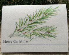 Set of Watercolor Christmas Cards, Hand Painted Christmas Cards, Original Watercolor Cards, Pine Bough Cards, Custom Greeting Cards,