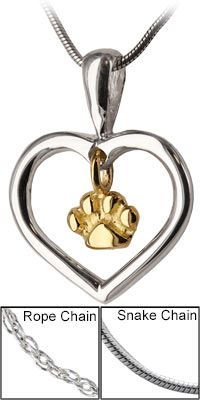 Love You Paw Print Sterling Necklace at The Animal Rescue Site