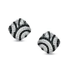 Zales: 1/2 CT. T.W. Enhanced Black and White Diamond Retro-Style Earrings in Sterling Silver