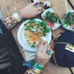 Festival food, festival swag...with #WCOgirlgang @novalanalove // Moonstone Gold & Turquoise Cuff and Dreamer Gold Bangle