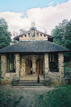 The exterior of Debre Berhan Selassie Church, Gondar, Ethiopia.
