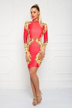 Jedinečné spoločenské šaty s dlhým rukávom, výraznou barokovou zlatou potlačou s možnosťou rozopnutia na zlatý zips v zadnej časti. Vhodné na spoločenské udalosti.