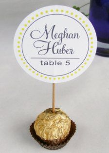 Unique Wedding Reception Ferrero Rocher Chocolate Candy Truffles Escort, Place Cards, placecards, guest name party favors Wedding Favours, Wedding Centerpieces, Wedding Table, Wedding Cards, Wedding Reception, Wedding Invitations, Wedding Decorations, Wedding Escort Card Ideas, Wedding Ideas