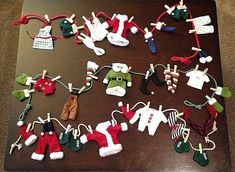 Mr & Mrs Santa Claus Elf Hanging Laundry Clothes Line Christmas Garland #Unbranded