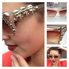 Try super cool and easy diy sunglasses this summer. Use embellishments, paints, sketch pens or tapes and give whole new look to your cheap sunglasses. Summer Accessories, Bridal Hair Accessories, Jewelry Accessories, Skull Fashion, Diy Fashion, Fashion Jewelry, Fashion Ideas, Diy Nagellack, Make Carnaval