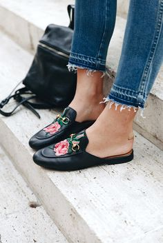 Le Fashion Blog Fall Style Embroidered Floral Gucci Mule Loafers Raw Hem Denim Black Leather Backpack Via Take Aim