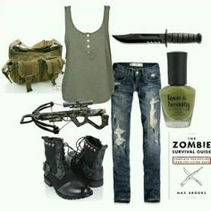 Walking Dead-inspired survivor outfit, not the arbalet and the knife, of course .in fact, I'll keep them finally ! The Walking Dead, Walking Dead Clothes, Zombie Apocalypse Outfit, Apocalypse Fashion, Apocalypse Aesthetic, Apocalypse Survival, Runners Outfit, Halloween Karneval, Badass Outfit