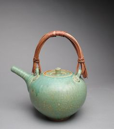 Clay Teapot Stoneware Green with Handmade by JohnMcCoyPottery. www.etsy.com/shop/JohnMcCoyPottery