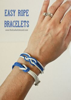 DIY Easy Rope Bracelets! | These are really easy to make.  They may look intimidating but we promise you they are not!  You will become addicted, they are so fun! Supplies Needed: Colored Rope* Ribbon Clasps* Pliers* Scissors* Measuring tape or ruler* - easy peasy!