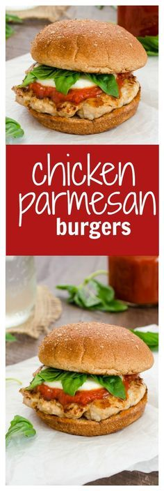 Easy Chicken Parmesan Burgers are juicy ground chicken burgers topped with marinara, fresh mozzarella, and basil leaves. Now you can enjoy the classic flavors of chicken parmesan burger-style! @FlavortheMoment