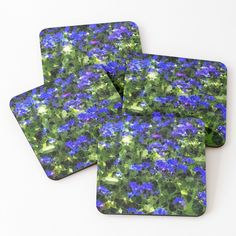 'abstract blue flowers' Coasters by Coaster Set, Blue Flowers, Bottles, My Arts, Vibrant, Art Prints, Mugs, Abstract, Printed