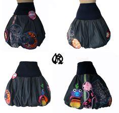 jupe boule en jeans incrustation fashion colorées Taille au choix - Maryse Richardson Création Paris