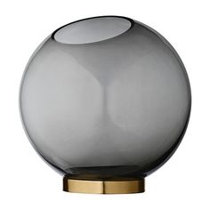 Grey round glass globe vase by AYTM is a unique statement piece for your home in a timeless design. The vase itself is made of gray glass in a globe Round Glass Vase, Glass Art, Interior Accessories, Decorative Accessories, Tabletop Accessories, Decorative Accents, Grands Vases, Grey Glass, Small Rings