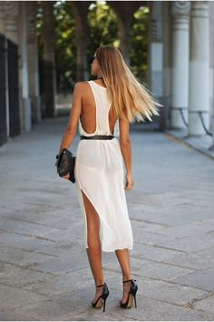 White back an side cleavage dress