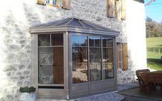 Sas d'entrée gris givré / Sas d'entrée / Saint victour (19) Entry Lockers, Sas Entree, Modern Entryway, Door Canopy, Bay Window, Mudroom, Gazebo, Entrance, Cottage