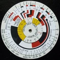 US Army ABC-M1A1 ca 1950 Radiation exposure using rotating wheel calculator. Colors are nice; remind me of Mondrian!