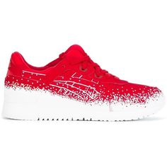 Asics 'Gel-Lyte III' sneakers ($124) ❤ liked on Polyvore featuring shoes, sneakers, red, red trainers, asics trainers, red sneakers, asics footwear and asics shoes