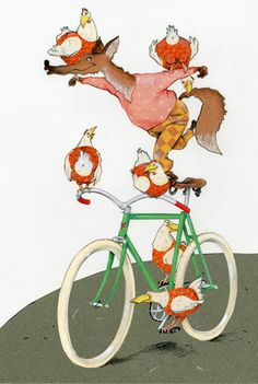 fox and chicken on a bicycle circus illustration by Robert Wagt #robertwagt