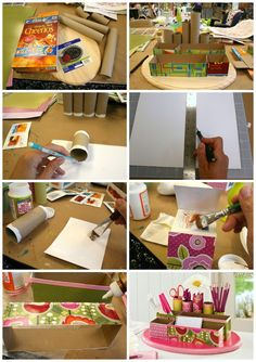 Make a desk organizer out of toilet paper rolls and cereal boxes!