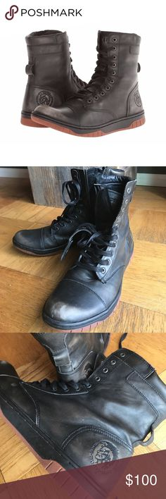 Diesel Basket Butch Zippy Boots Black Size 12 Diesel Basket Butch Zippy Boots in black, size 12. Treated leather on a rubber sneaker sole. Embossed Mohawk logo. Worn just a couple times. Diesel Shoes Boots