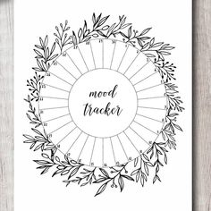 Greenery Leaves Circle Mood Tracker Printable Template for Bullet Journal Mood Tracker Ideas, Bullet Journal Notebook, Bullet Journal Themes, Bullet Journal Inspiration, Book Journal, Bullet Journal Leaves, Journal Ideas, Bujo Planner, Bullet Journal Aesthetic