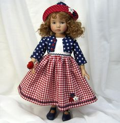"""Can you guess """"MY"""" favorite """"Patriotic"""" doll dress? Girl Doll Clothes, Doll Clothes Patterns, Doll Patterns, Girl Dolls, Sewing Patterns, American Girl Crafts, American Dolls, 4th Of July Dresses, Doll Wardrobe"""