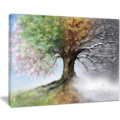 Tree with Four Seasons - Tree Painting Canvas Art Print